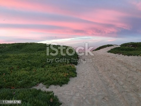 istock Pink sky above the path to the sea 1125913790