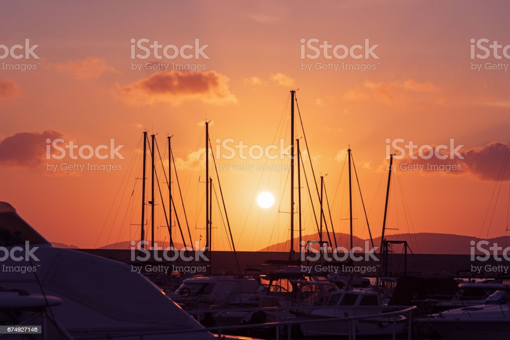 pink sky over the harbor royalty-free stock photo