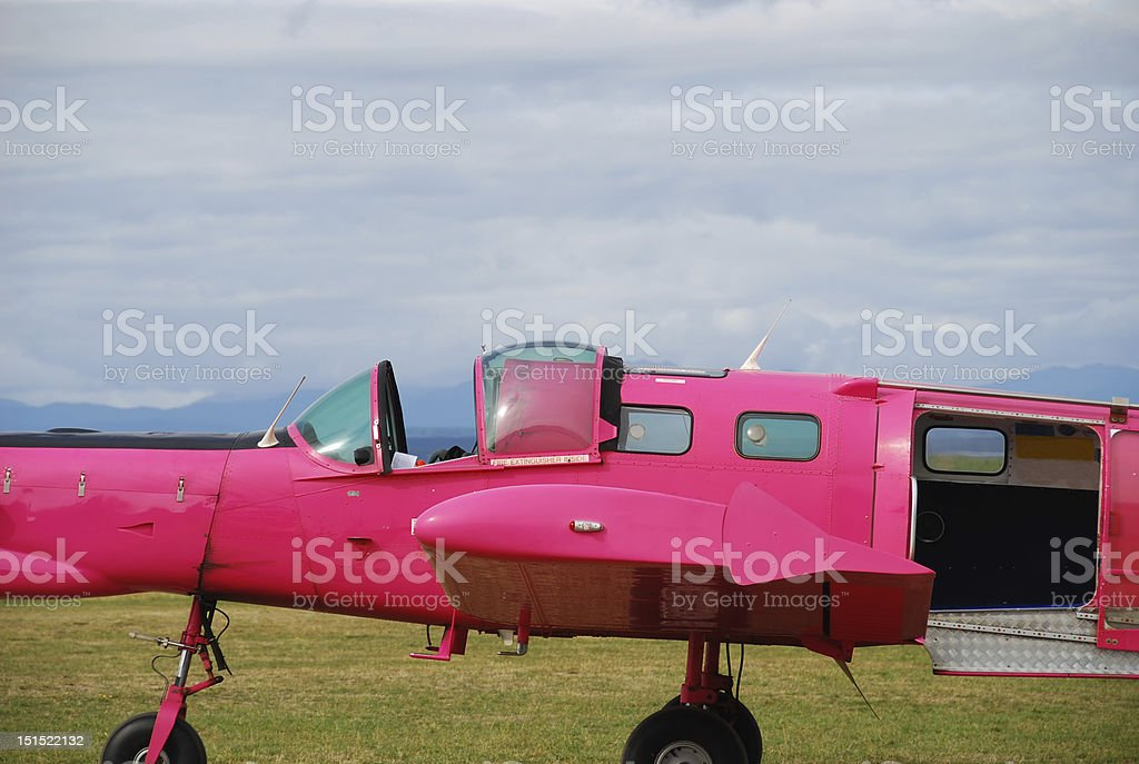 Pink skydive plane royalty-free stock photo