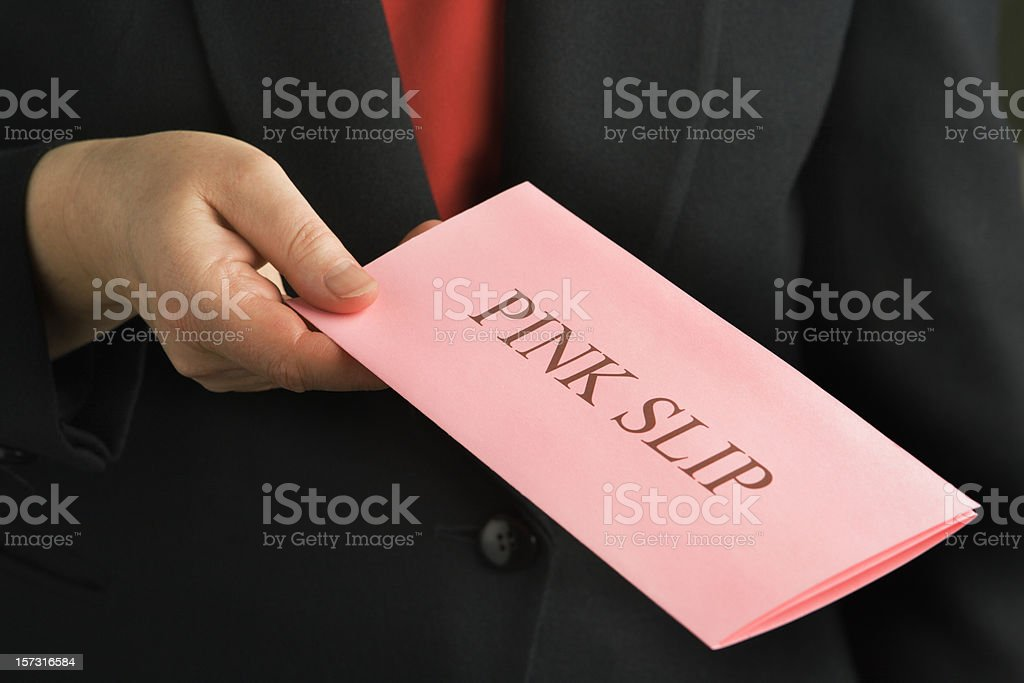 """Pink Slip"" Job Firing, Downsizing Notice of Unemployment, Employment Issues stock photo"