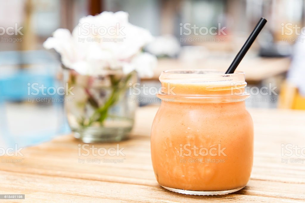Pink smoothie. Detox superfood stock photo