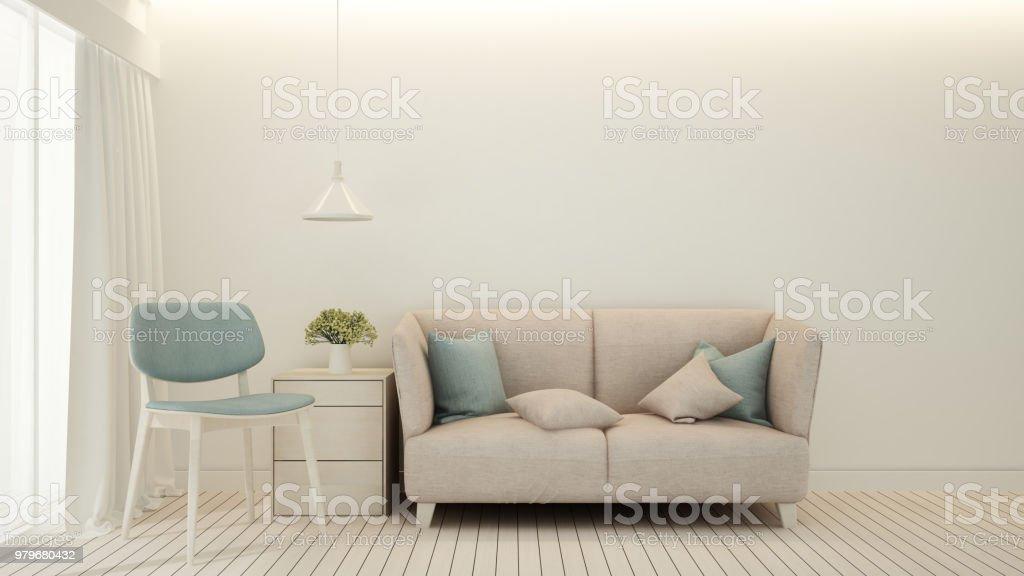 Rosa Sofa Und Leichten Blauen Stuhl Im Wohnzimmer