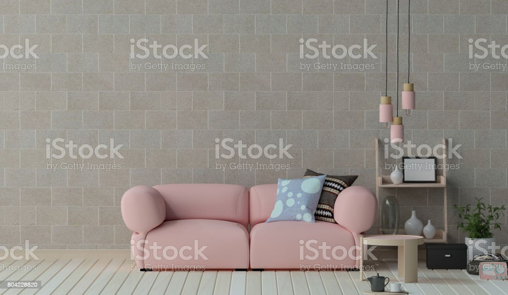 Surprising Pink Sofa Furniture Set In Living Room 3D Illustration Onthecornerstone Fun Painted Chair Ideas Images Onthecornerstoneorg