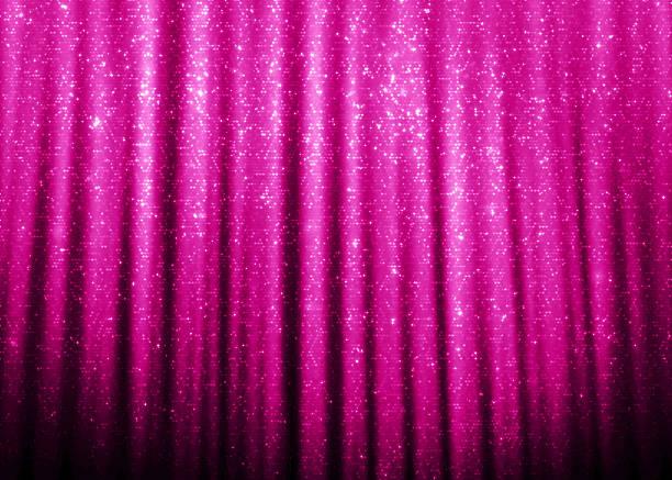 ピンクの輝くグリッターのカーテン - glitter curtain ストックフォトと画像