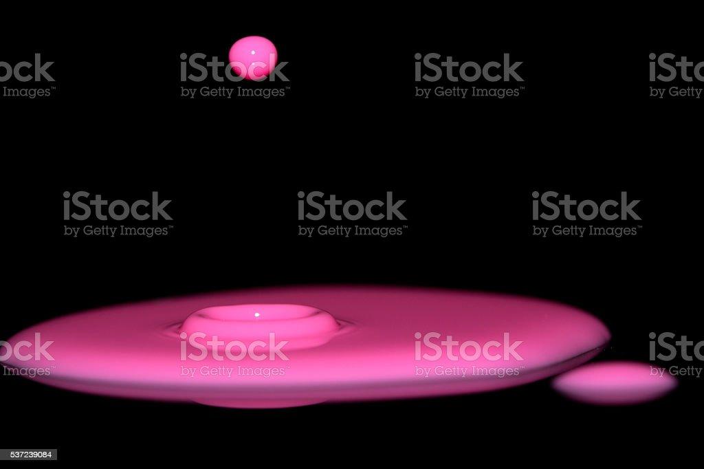 Pink Splash On Black stock photo