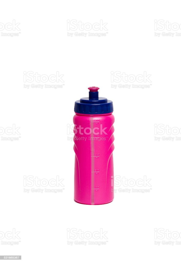 Pink sport bottle stock photo