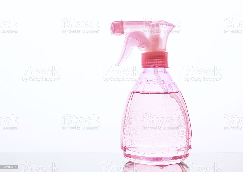 Pink sprayer on white background royalty-free stock photo