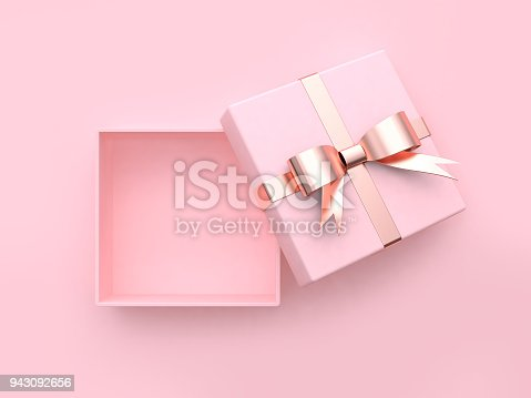 istock pink square gift box open metallic bow-ribbon valentine concept 3d rendering 943092656