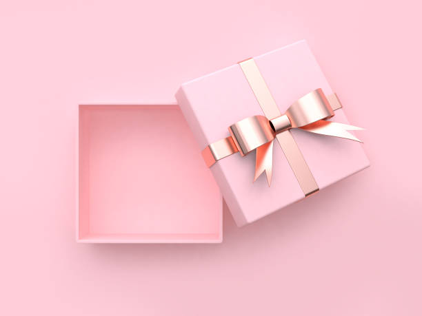 pink square gift box open metallic bow-ribbon valentine concept 3d rendering pink square gift box open metallic bow-ribbon valentine concept 3d rendering gift box stock pictures, royalty-free photos & images