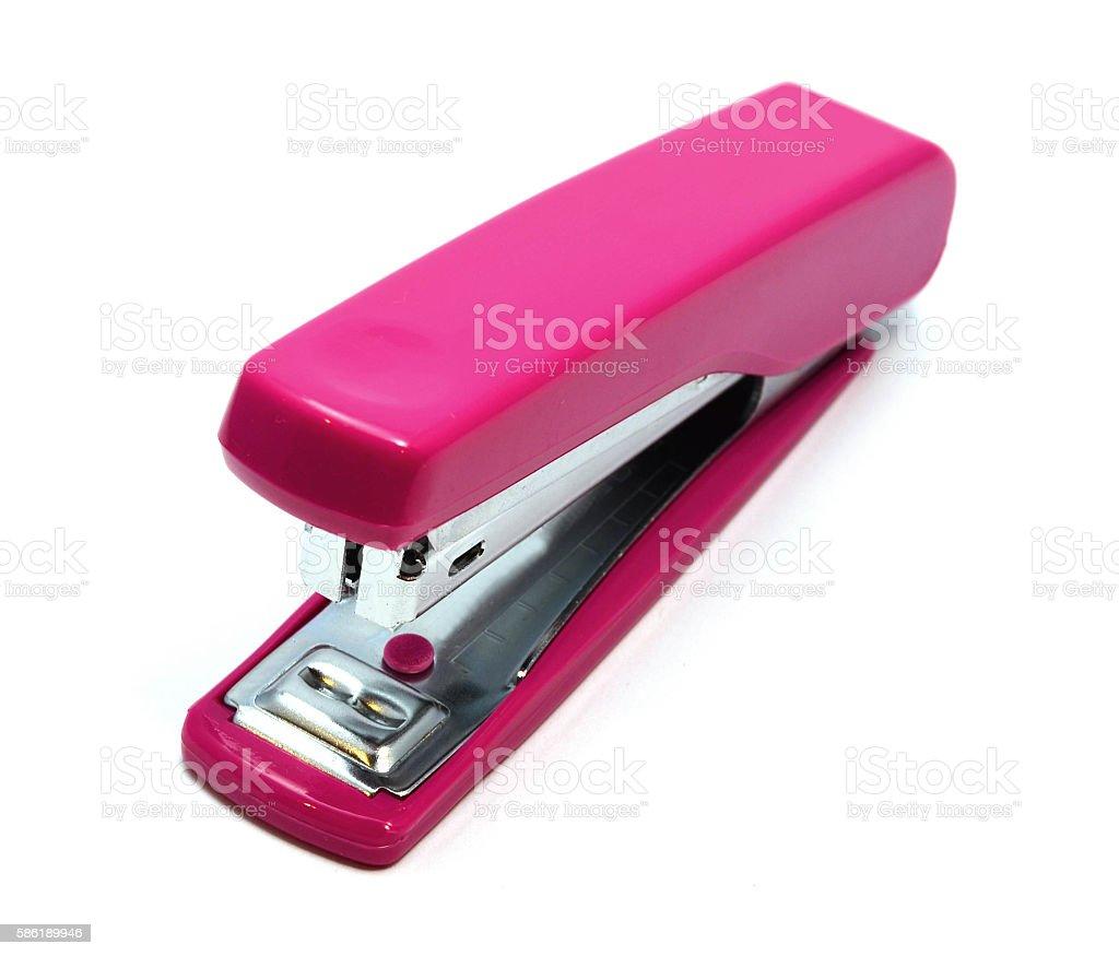 Pink stapler isolated on white background - fotografia de stock