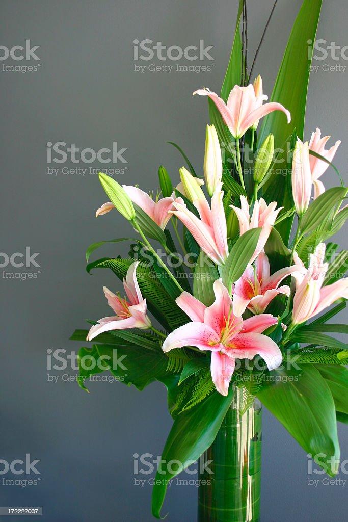 pink stargazer lily vase arrangement on gray background royalty-free stock photo