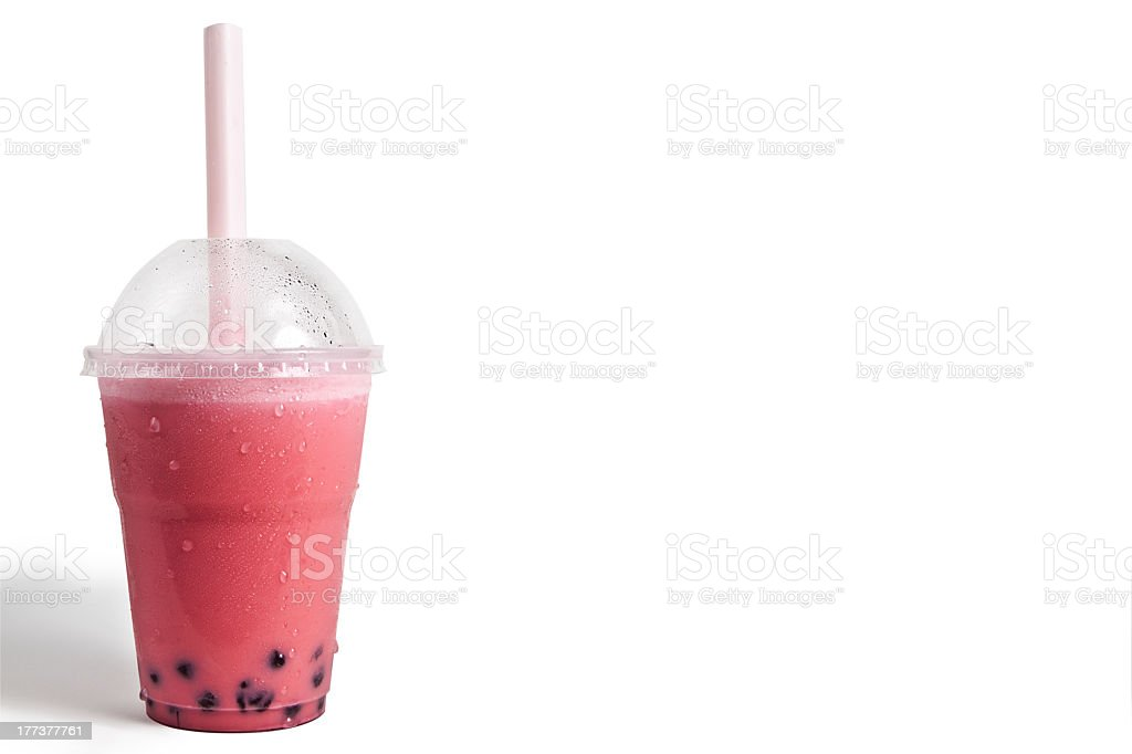 Pink Strawberry Bubble tea stock photo
