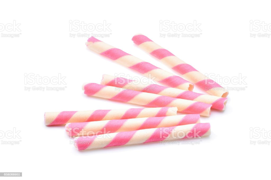 pink stripe wafer rolls on white Background royalty-free stock photo