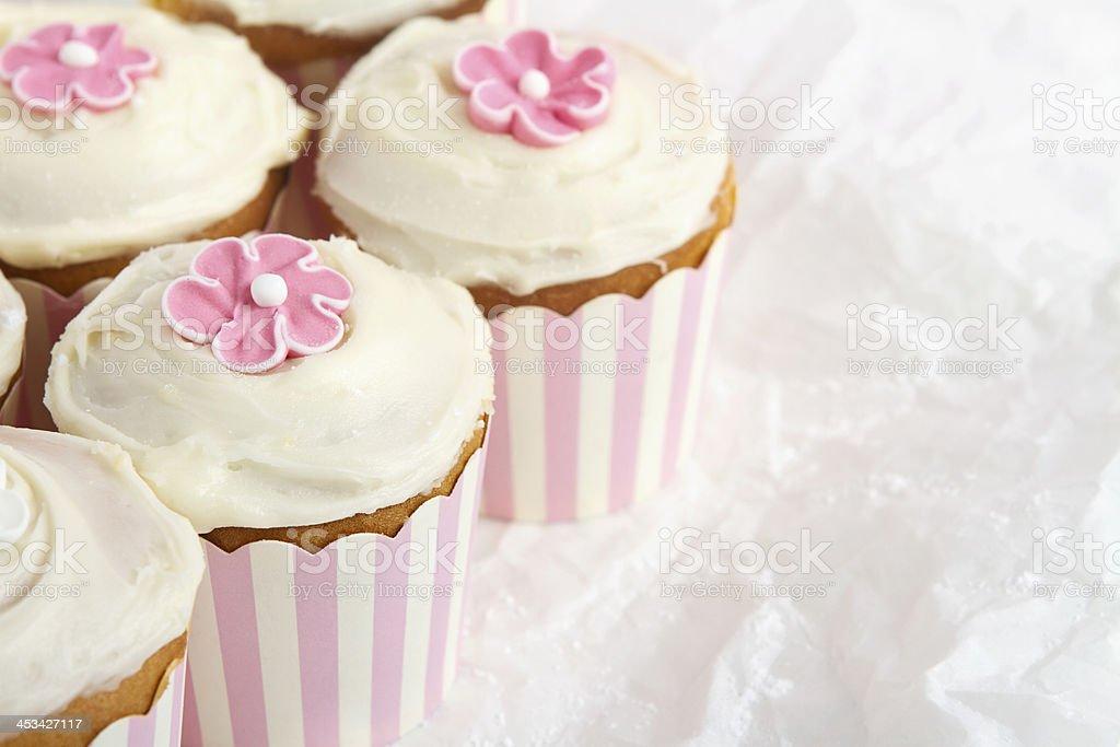 Pink striped cupcakes horizontal stock photo
