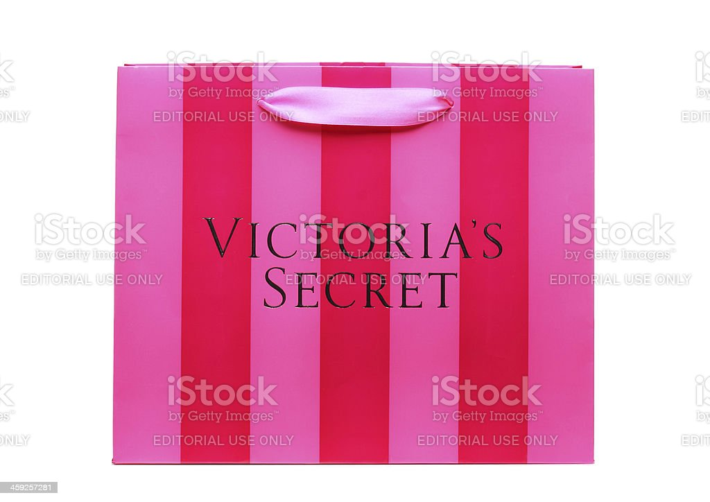 Pink Striped Victoria's Secret Shopping Bag royalty-free stock photo