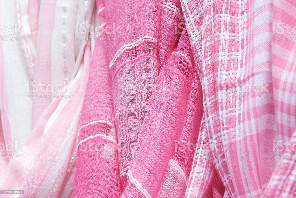 Pink Stripes Squares Plaid Pattern Fabrics Hanging royalty-free stock photo