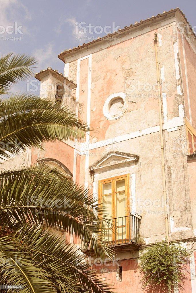 Pink Stucco Building With Balcony - Ravello, Italy stock photo