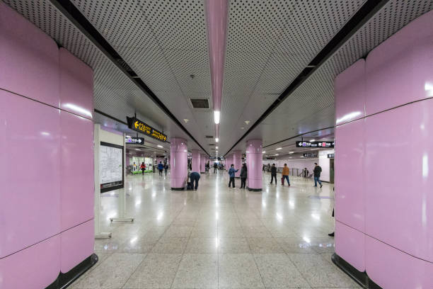 Pink subway station in Shanghai stock photo