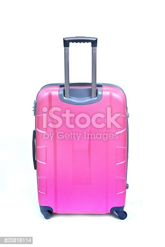 istock Pink suitcase 820816114