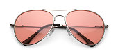 Aviator Sunglasses with Pink Lenses Isolated on White Background with Clipping Path.