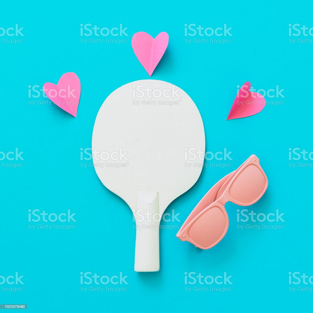 42801404b0b Pink Sunglasses And Tennis Racket With Heart Stock Photo   More ...