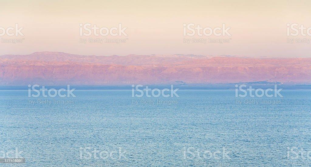pink sunrise on Dead Sea coast royalty-free stock photo