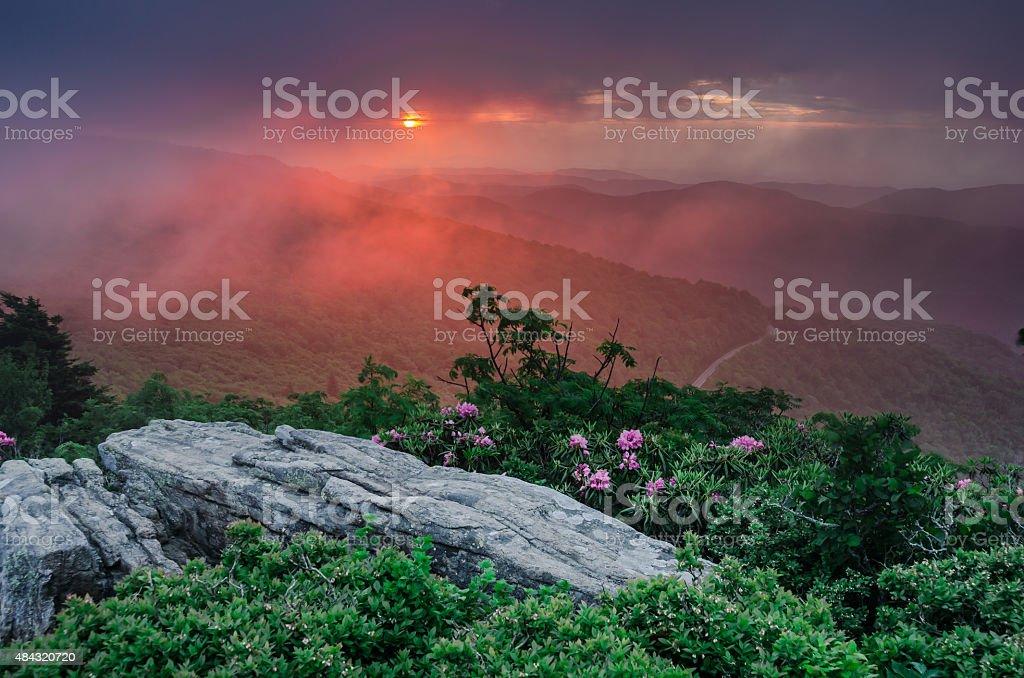 Pink Sunset Through Fog on Jane Bald Horizontal stock photo