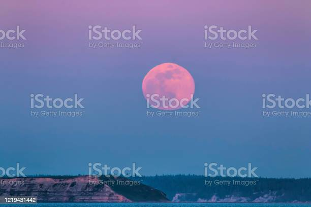 Photo of Pink supermoon rising over Protection Island