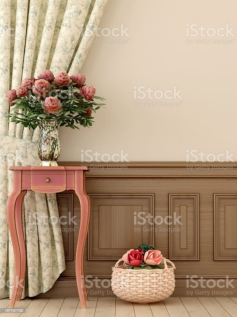 Pink table with flowers stock photo