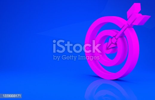 826378430 istock photo Pink Target with arrow icon isolated on blue background. Dart board sign. Archery board icon. Dartboard sign. Business goal concept. Minimalism concept. 3d illustration 3D render 1223333171