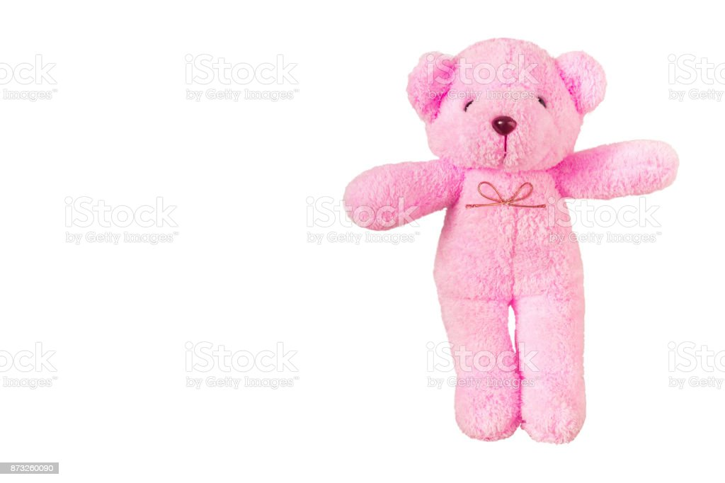 pink teddy bear,isolated on white background with clipping path. stock photo