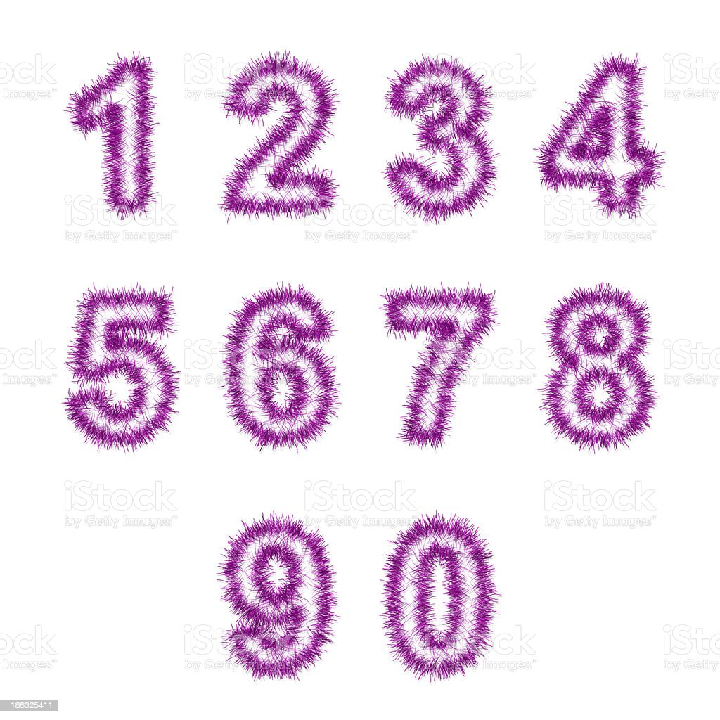 pink tinsel digits on white royalty-free stock photo