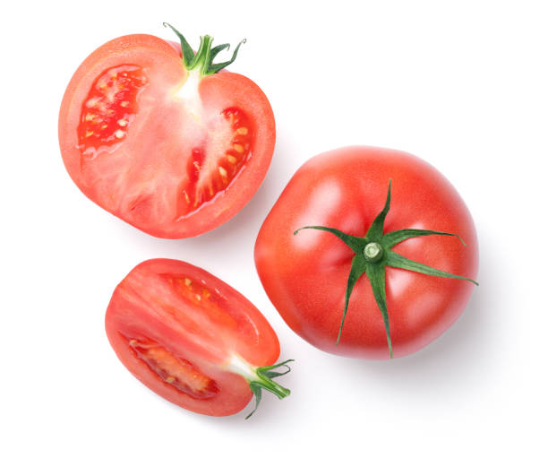 Pink Tomatoes Isolated on White Background stock photo