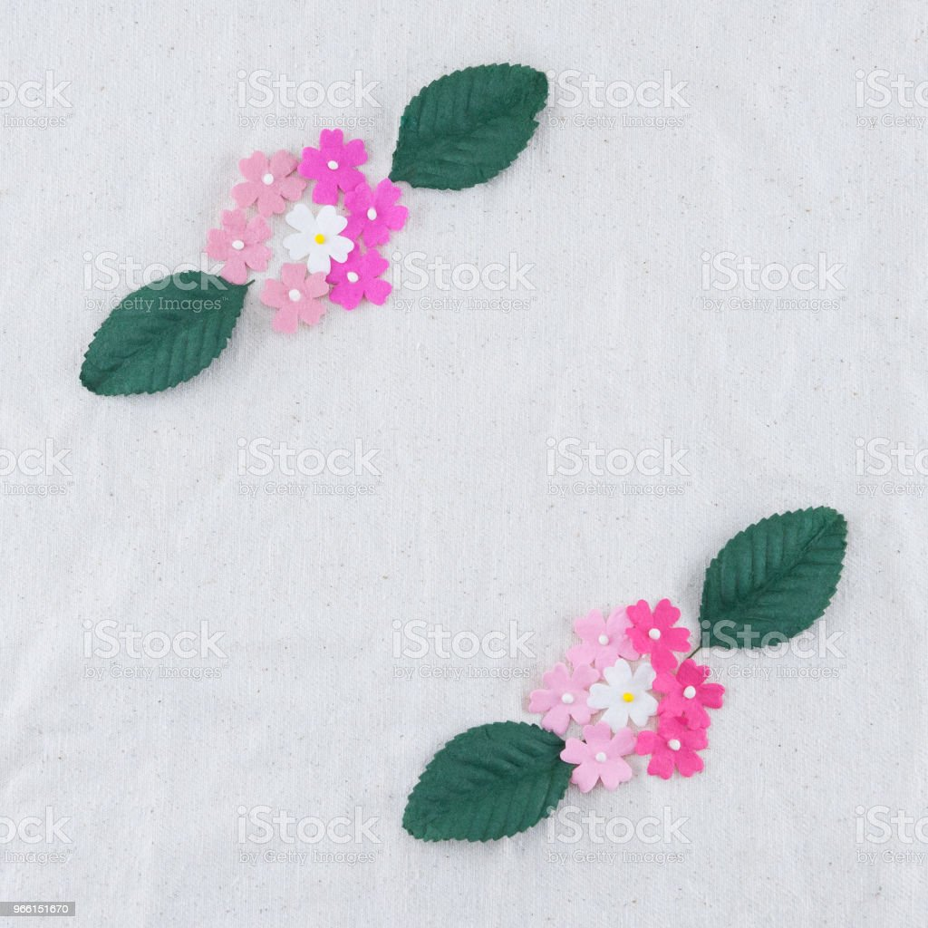 Pink tone paper flowers and green leaves bouquet - Royalty-free Beauty Stock Photo