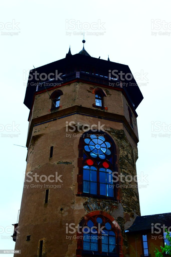 Rosa Turm in Oberwesel - Lizenzfrei Alt Stock-Foto