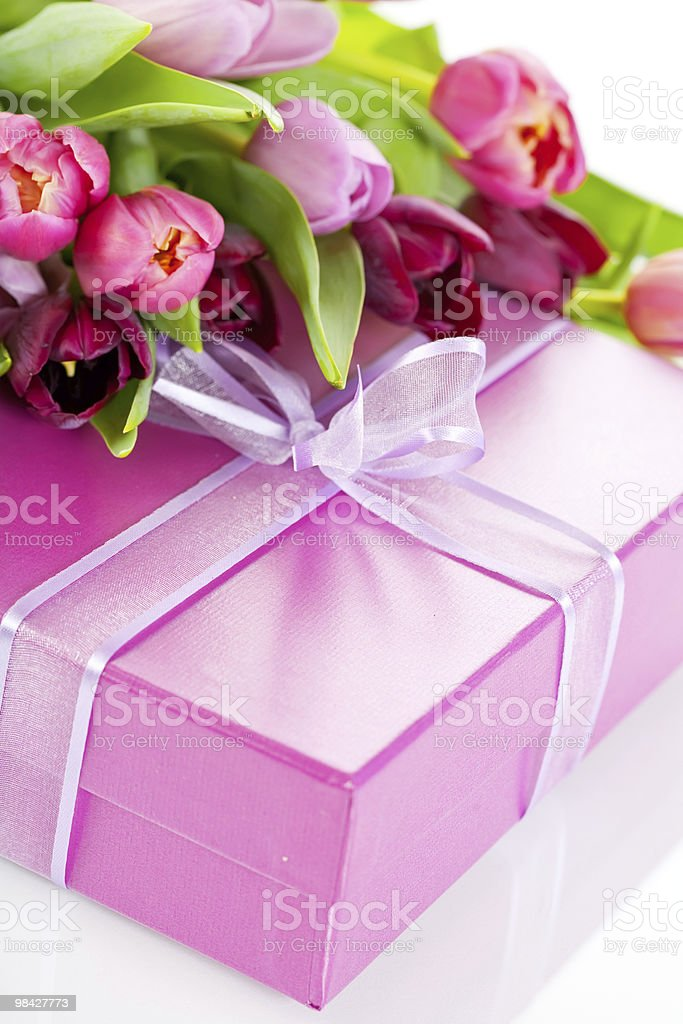 Pink tulips and gift box royalty-free stock photo