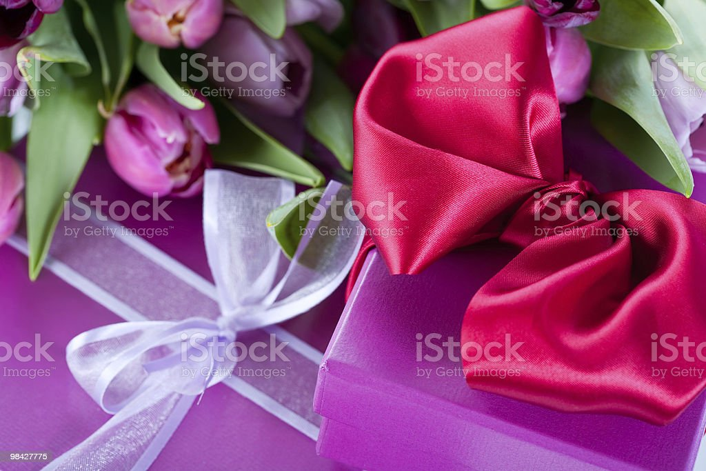 Pink tulips and gift boxes royalty-free stock photo