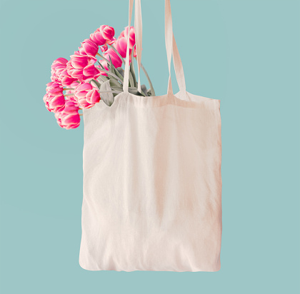 Pink tulips bunch in white cotton shopping bag with copy space at light blue wall background