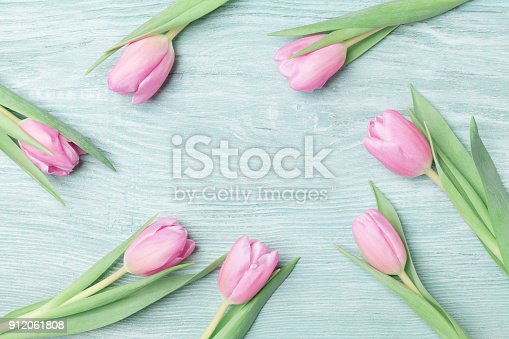 659293084 istock photo Pink tulips for March 8, International Womans or Mothers day. Beautiful spring background. 912061808