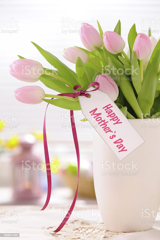 Pink tulips with mothers day card royalty-free stock photo