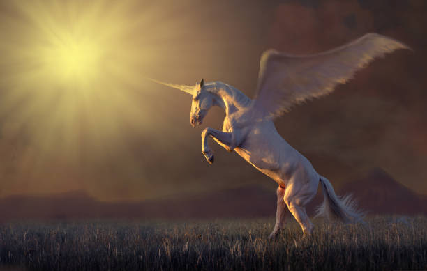 pink unicorn reared - unicorns stock photos and pictures