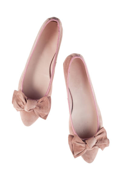 pink velour shoes fashion top view flat lay - flat shoe stock photos and pictures