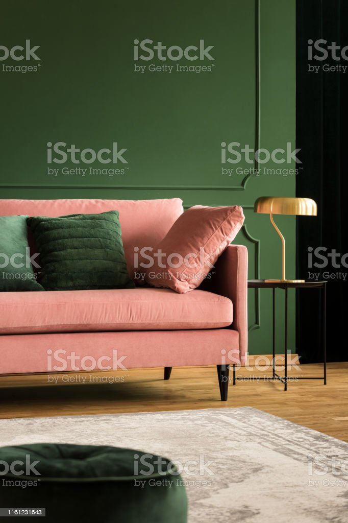 Pink Velvet Sofa In Glamour Living Room Stock Photo Download Image Now Istock