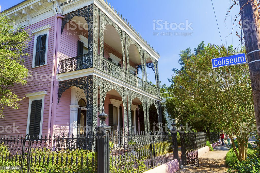 A pink Victorian house in the Garden District of New Orleans stock photo