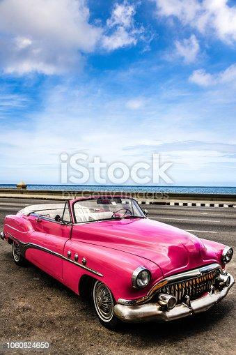 Pink Vintage American Car In Havana, Cuba