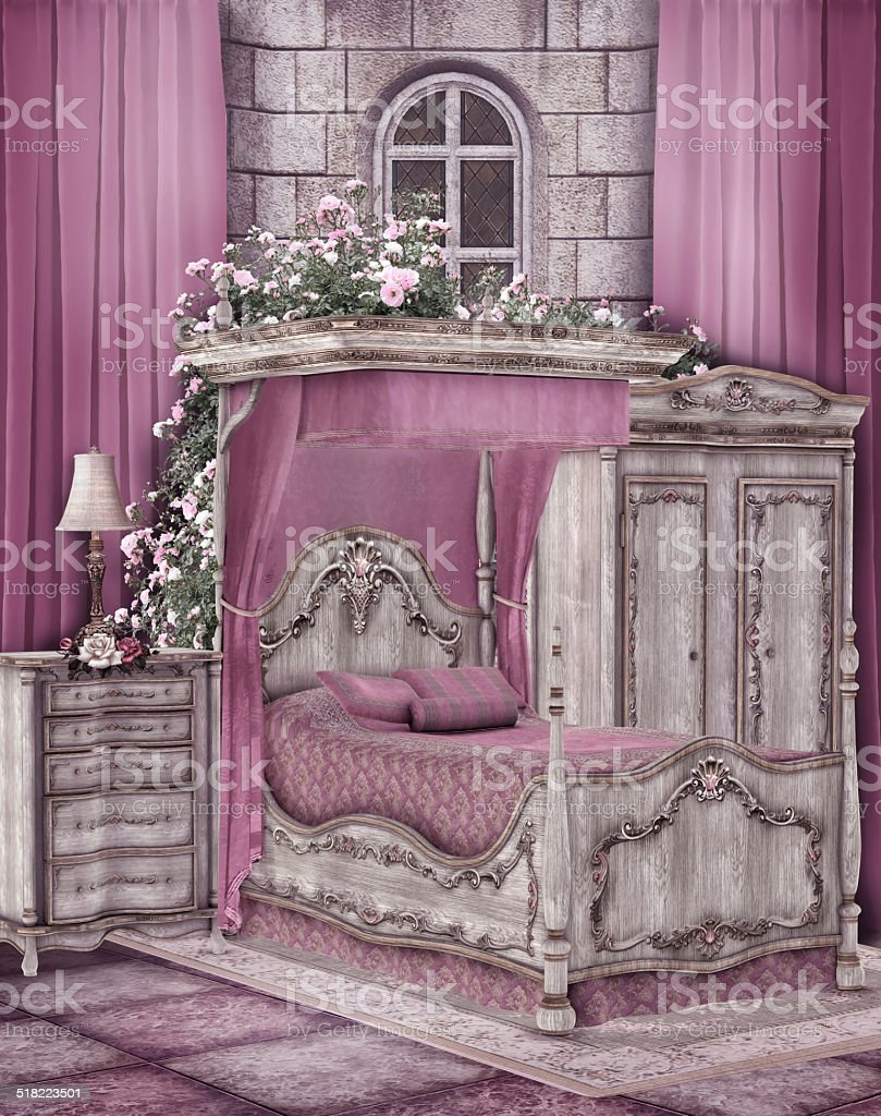 Pink Vintage Bedroom Stock Photo & More Pictures of Architecture ...