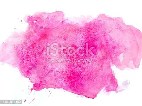 istock Pink watercolor background on a white paper 1164827400