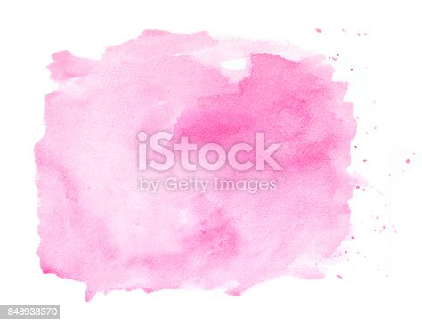 istock Pink watercolor background on a white paper 848933370