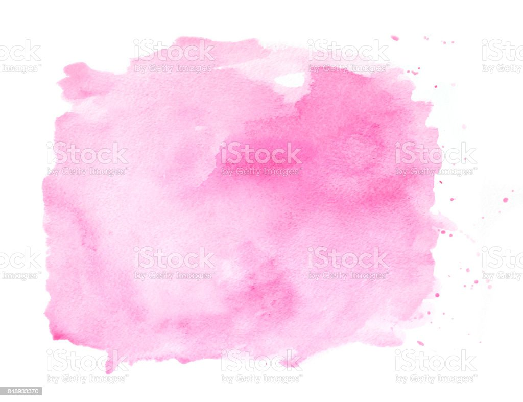 Pink watercolor background on a white paper stock photo