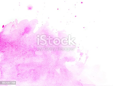 848933370 istock photo Pink watercolor background on a white paper 932097788